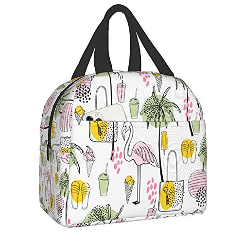 Bolsa de almuerzo reutilizable aislada, bolsa de almuerzo nevera, flamencos y palmeras con bolsillo frontal con cierre de cremallera para mujer, hombre, trabajo, picnic o viaje