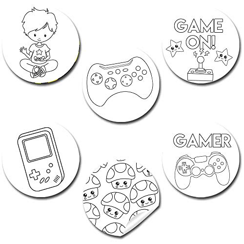 Color Your Own Game On! Video Game Themed Birthday Party Favor Sticker Labels for Boys, 90 1.5'...