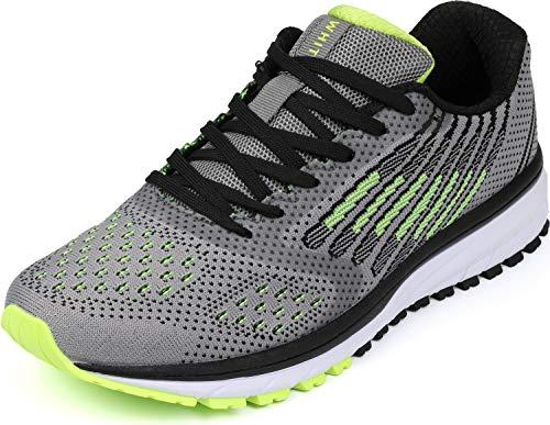 WHITIN Unisex Laufschuhe Herren Damen Hallenschuhe Turnschuhe Sneakers Männer Sportschuhe Straßenlaufschuhe Atmungsaktiv Joggingschuhe Fitness Schuhe Grau Grün Größe 43