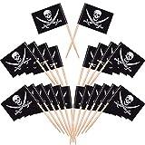 Blulu Cocktail Pirata Bandiere di Stuzzicadenti Topper per Torte per Cibo, Antipasto, Cocktail, Cupcake Decorazione per Bambini Halloween Compleanno Festa Decorazione (200 Pezzi)