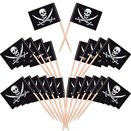 200 Stücke Piraten Cocktail Zahnstocher Flaggen Kuchen Topper für Lebensmittel, Vorspeise, Cocktail, Cupcake Dekoration für Kinder Halloween Geburtstag Party Dekorationen (200)