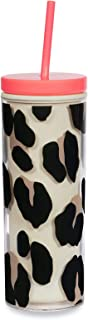 Kate Spade New York Insulated Tumbler with Reusable Straw, Leopard Print 20 Ounce Acrylic Travel Cup with Lid, Forest Feline