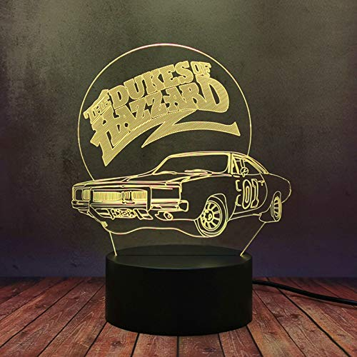 LED Optical Auto-Flash Cool Vehicle Lamp Model 01Sign The Dukes of Hazzard Car 3D 16 Color Night Light Decor Home Bedroom Desk Lamp Boy Teen Birthday Party Best Gift Display