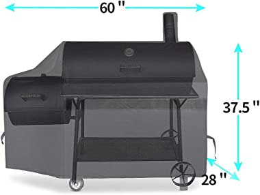 NEXCOVER Offset Smoker Cover - 60 Inch Waterproof Charcoal Grill Cover, Outdoor Heavy Duty BBQ Cover, Rip Resistant Smokestac
