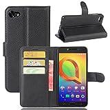 guran® custodia in pu pelle per alcatel a5 led smartphone avere portafoglio e funzione stent case flip cover caso copertura protettiva-nero