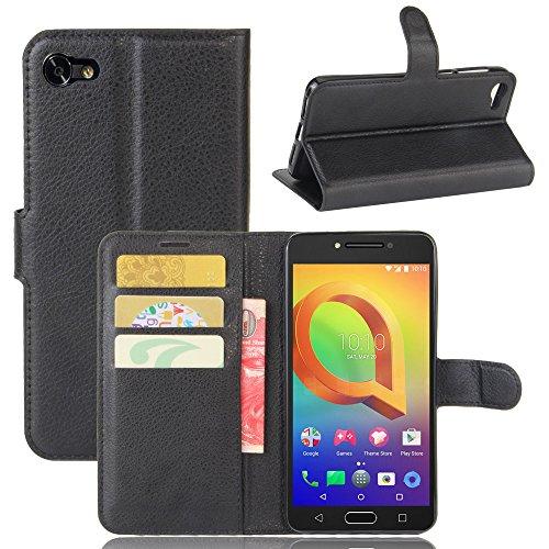 Guran® PU Ledertasche Hülle für Alcatel A5 LED Smartphone Flip Deckung Standfunktion & Karte Slot Handykasten Etui-schwarz
