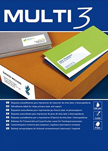 Marcadores adhesivos Multi3 para impresoras de inyección de tinta, láser y fotocopiadora, bordes rectos, 100 hojas, 48,5 x 16,9 mm