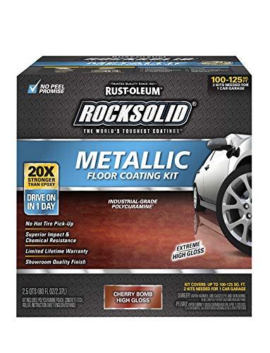 Rust-Oleum 286896 Rocksolid Metallic Garage Floor Coating, 70 fl oz, Cherry Bomb
