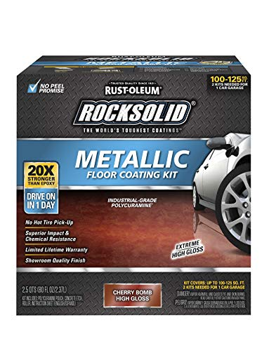 Rust-Oleum 286896 Rocksolid Metallic Garage Floor Coating, 70 fl oz, Cherry Bomb