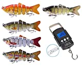 Fishing Lures + Fishing Scale, 5pcs Multi Jointed Swimbait Lifelike Hard Bait Fishing Lures for Bass Trout Perch, Backlit LCD Display 110lb/50kg Hanging Hook Scale with Measuring Tape