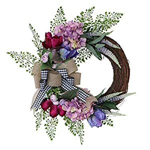 Provence Purple Wreath Artificial Flower Front Door Simulation Gardenia Garland Outdoor Spring Wreath Farmhouse Wreath Simulation Provence Purple Half Ring Garland