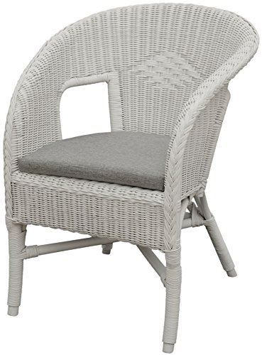 Bella Rattan Chair in White with Cushion – Stacking Armchair Made of Natural Rattan