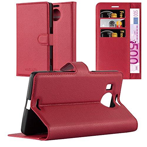 Cadorabo Custodia Libro per Nokia Lumia 950 XL in Rosso Carminio - con Vani di Carte, Funzione Stand e Chiusura Magnetica - Portafoglio Cover Case Wallet Book Etui Protezione