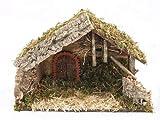 Bertoni leer Krippe Holz Hütte mit ARC Tür, Holz, Mehrfarbig, 42x 18x 28cm