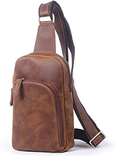 vintage Men's real Leather chest bag Business Casual Outdoor Sling Bag (Style 22 - Brown)