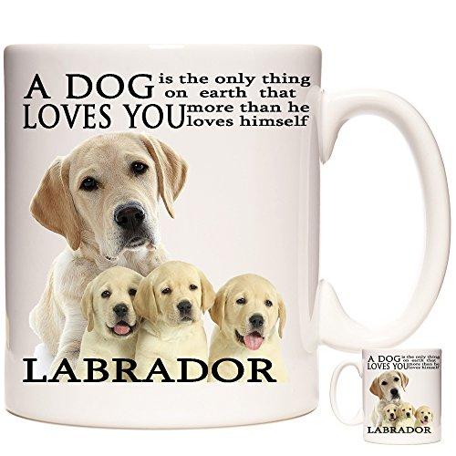 """Tasse mit goldenem Labrador, """"A Dog Loves You""""."""