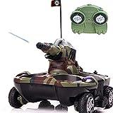 FXQIN Tanque RC Anfibio Vehículos Militares de Control Remoto Tanque Todoterreno, Coche RC de 2,4 GHz, 4WD Camión de Acrobacias RC para niños Adultos, Agua en Aerosol Y Rotación de 360 °