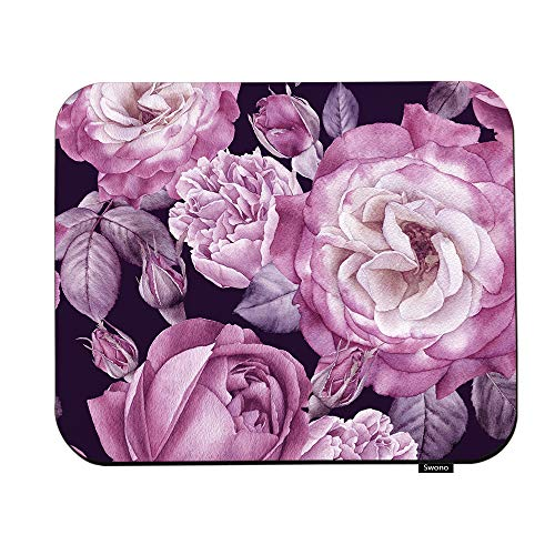 Swono Purple Rose Mouse Pads Floral Seamless Pattern with Watercolor Roses and Peonies Mouse Pad for Laptop Funny Non-Slip Gaming Mouse Pad for Office Home Travel Mouse Mat 7.9'X9.5'