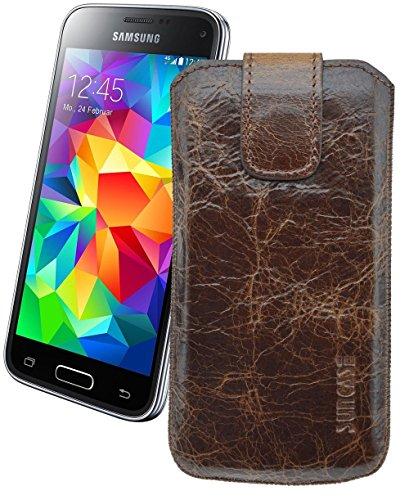 Samsung Galaxy S5 (SM-G900F) / Original Suncase® Tasche Leder Etui Handytasche Ledertasche Schutzhülle Case Hülle *mit Zieh-Lasche* rustik-tobacco