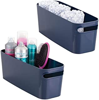 mDesign Bathroom Vanity Plastic Organizer Storage Bin Tote with Handles for Health and Beauty Products, Shampoo Bottles, L...