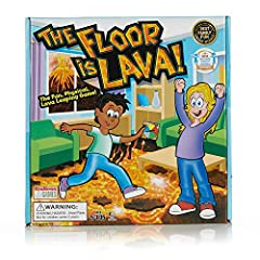 FUN GAME: The Floor is Lava! is a game where players must imagine the floor is molten hot lava while spinning the color wheel to jump to the right foam pieces to reach safety. The Floor is Lava! is a family game that promotes physical activity, an ac...