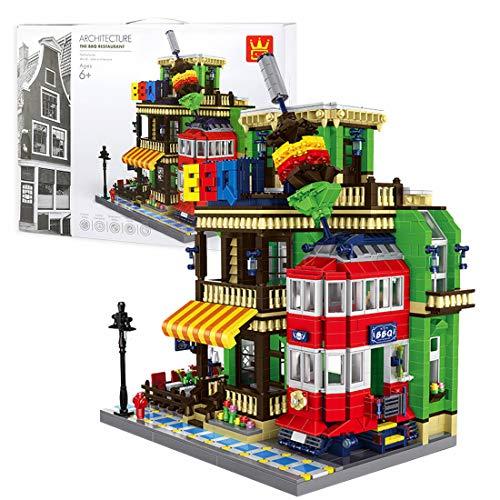 xSuper Juegos de construcción modulares 1922 piezas City Street European Architecture Model Kit BBQ Restaurant Bloques de construcción Juguetes, regalo de construcción compatible con Lego