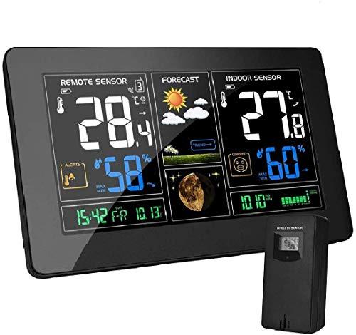 vonivi EU-Adapter Wetterstation mit Außensensor Funk Digitales Farbdisplay DCF-Funkuhr Multifunktionale Funkwetterstation Thermometer Hygrometer