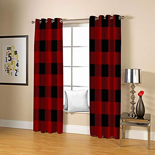 LOVEXOO Blackout Curtains for Bedroom Red Black & Plaid Super Soft Thermal Insulated Tab Top Thermal Insulated Window Treatments Curtain for Living Room 2 Panels W66 x H90 Inch