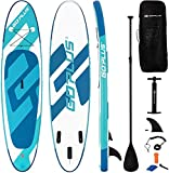 "Goplus Inflatable Stand Up Paddle Board, 6"" Thick SUP with Accessory Pack, Adjustable Paddle, Carry Bag, Bottom Fin, Hand Pump, Non-Slip Deck, Leash, Repair Kit (Green, 11FT)"