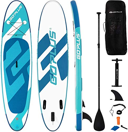 """Goplus Inflatable Stand Up Paddle Board, 6"""" Thick SUP with Accessory Pack, Adjustable Paddle, Carry Bag, Bottom Fin, Hand Pump, Non-Slip Deck, Leash, Repair Kit (Green, 11FT)"""