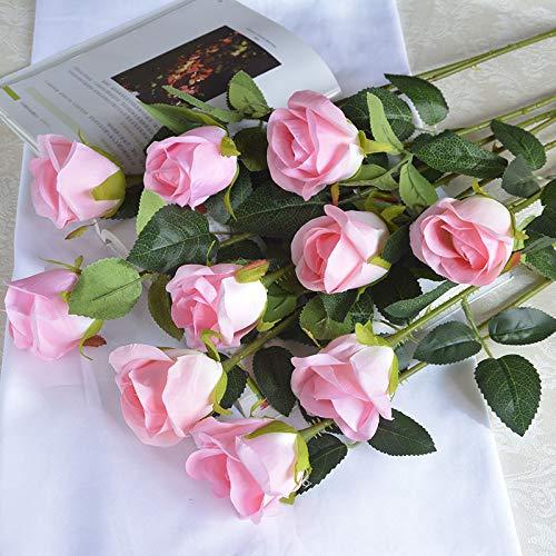 WHZWH Flores Artificiales 5 Piezas 10 Piezas Ramo De Rosas Individuales Sala De Estar Interior Mesa De Comedor Adornos De...