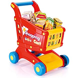 Vinsani [16 PCS] Childrens Kids Pretend Play Shopping Cart and Grocery Food Trolley
