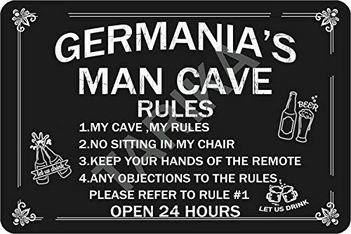 Tarika Germania'S Man Cave Open 24 Hours Eisen Poster Vintage Gemälde Zinn Zeichen für Straße Garage Home Cafe Bar Mann Höhle Farm Wanddekoration Handwerk