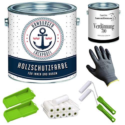PU Holzschutzfarbe GLÄNZEND farblos Klarlack Wetterschutzfarbe Holzfarbe Holzlack - PU verstärkt & UV-beständig + Lackier-SET (X300) & Verdünnung (1 L) // Hamburger Lack-Profi (2,5 L)