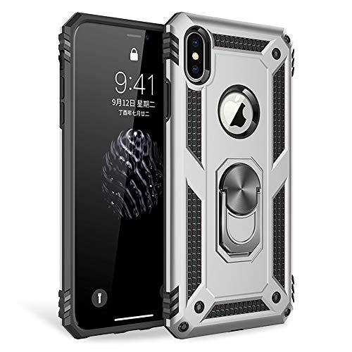 NALIA Funda Anillo Compatible con iPhone X XS, Carcasa Resistente para Soporte de Coche Magnético, 360 Grados Ring Rotacion Kickstand Cover, Hard-Case & Silicona Bumper Estuche Rigida, Color:Plata