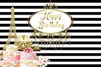 GooEoo お誕生日おめでとう背景10×6.5フィート黒と白のストライプビニール写真の背景パリゴールデンエッフェル塔ギフト女の子女性子供パーティーバナースタジオの装飾写真の小道具肖像画撮影