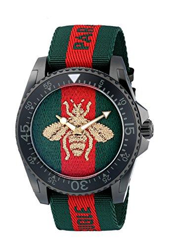 Gucci Reloj Análogo clásico para Hombre de Cuarzo con Correa en Nailon YA136216