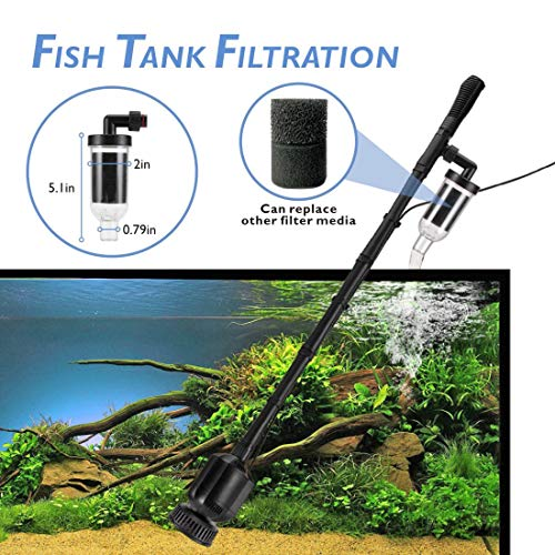 Fish Food Supplies | 396GPH Electric Aquarium Gravel Cleaner, 5 in 1 Automatic Fish Tank Cleaning Tool Set Vacuum Water Changer Sand Washer Filter Siphon Adjustable Length DC 12V 20W, Gym exercise ab workouts - shap2.com