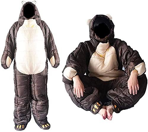 AIRUYI Sacco a Pelo indossabile 3 Stagione Sacco a Pelo a Forma di Orso per Adulti Camping Body Sleep Sacchetto del Sonno 7.16 (Dimensione : XL)