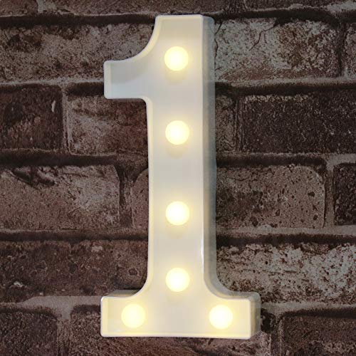 Decorative Led Light Up Number Letters, White Plastic Marquee Number Lights Sign Party Wedding Decor Battery Operated Number (1)
