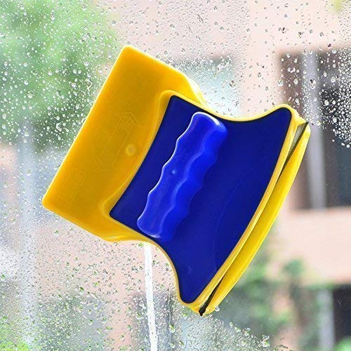 DNC ENTERPRISE Household Cleaner Magnetic Window Cleaner Double-Side Glazed Square Glass Cleaner/Wiper with 2 Extra Cleaning Cotton Cleaner Squeegee Washing Equipment (Multicolour)