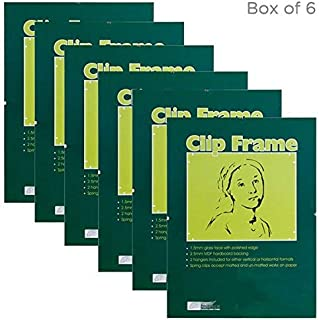 Ambiance Gallery Clip Frame Modern Low Profile Invisible Minimalist Picture Photo Gallery Frame, Includes Glass and Backing - 8x10 - [Box of 6]
