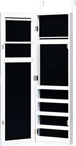 2021 Giantex Jewelry Cabinet Armoire Door Wall Mounted, with Full Length Mirror and 5 online Storage Shelves for Display Bracelets Rings Cosmetics Hanging Organizer, discount Mirrored Storage Jewelry Cabinets (White) online