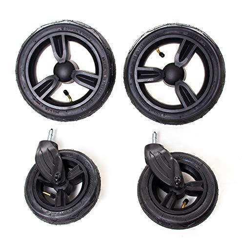 Osann Ersatz-Räder mit Autoventil für Osann-Kinderwagenmodelle K1, Joy, Joy Plus und Olé (2x vorne, 2x hinten) – schwarze Felge