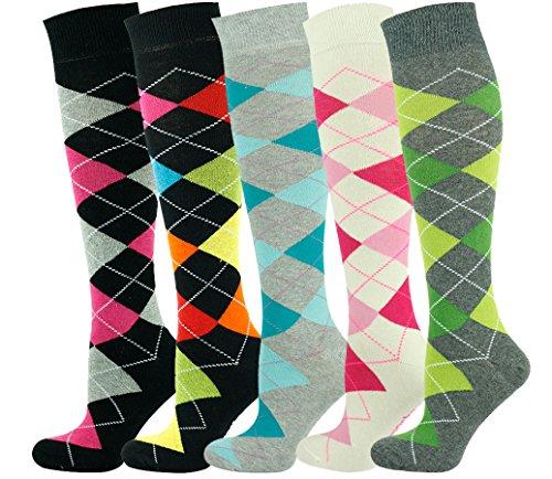 Mysocks Unisex Kniehohe Argyle Socken Mehrfachverpackung 705