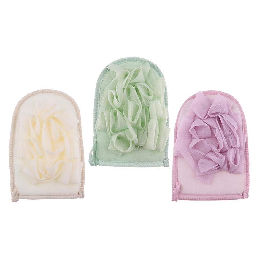 覗く研磨剤封筒SM SunniMix バスミット バスグローブ 両面 バススポンジ 垢すり用グローブ 角質除去 男女兼用 3個入