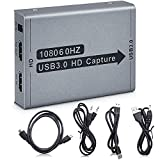 1080P Video Capture Card, HDMI to USB3.0 Live Streaming Game Recorder Card, 1080P 60HZ Video/Audio Game Capture Box for Switch PS4 Xbox One, Compatible with Linux/Mac OS/Windows