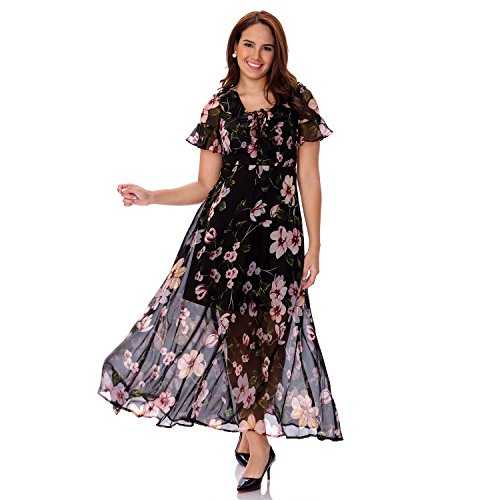 One Sight Women's Boho Maxi Dress V-Neck Floral Printed Bohemian Long Dress