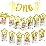 SAVITA 1er Anniversaire Décoration Or Glitter 1-12 Mois Photo Bannière pour Décorations De Douche De Bébé, Articles De Fête