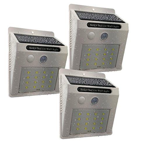 Trango 3-pack 16 LED zonnelamp wandlamp veiligheidslamp incl. bewegingsmelder en helderheidssensor zorgen voor auto aan/uit TGSOL-YF16W